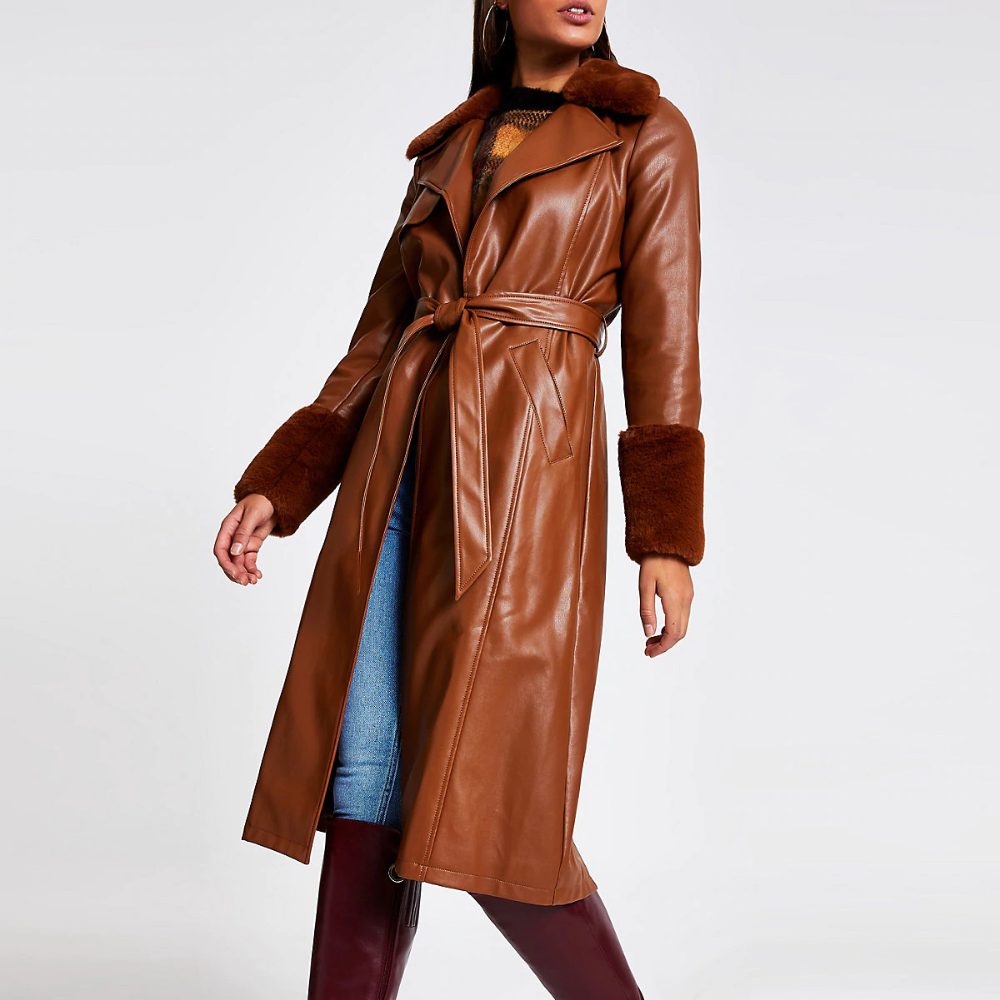 River Island Brown faux leather longline trench coat in