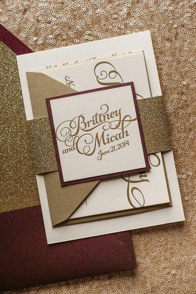 KATHRYN Suite Glitter Package Wine Colored WeddingGlitter Wedding InvitationsLetterpress