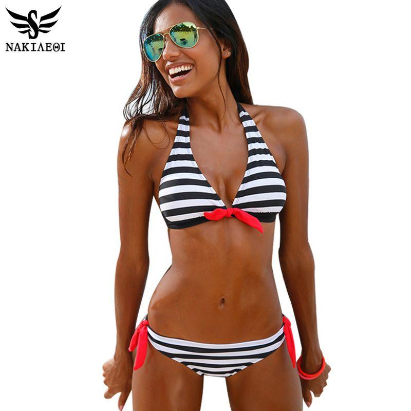 New Fashion Beautiful rayas Bikini Set Swimwear Swimsuit las mujeres Sexy Monokini Push Up Traje de baño playa desgaste biquini, B, Small