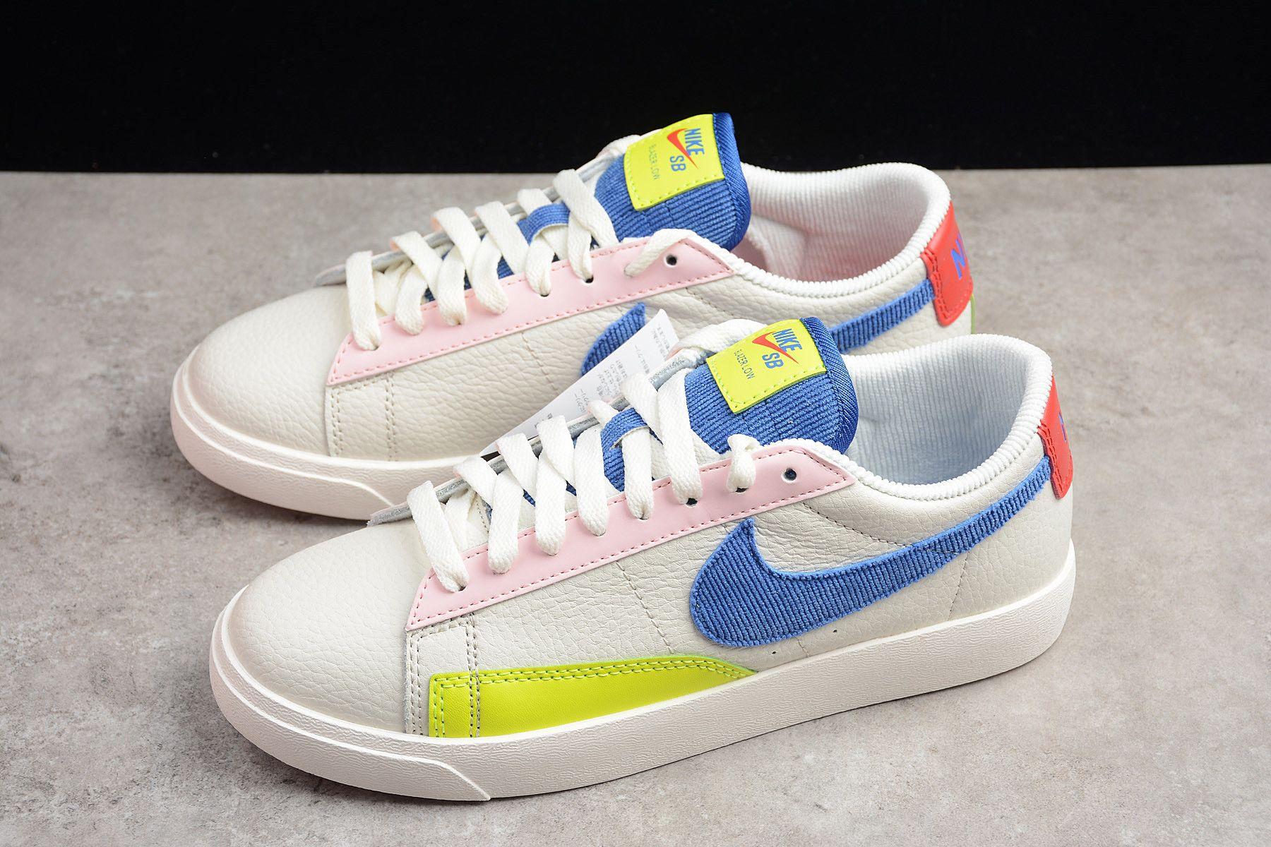 70334240c49308 WMNS Nike Blazer Low Sail Racer Blue-Arctic Pink AQ4140-101