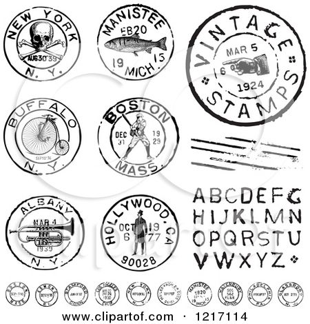 Clipart Of Vintage Black And White Postmark Stamps And Letters Royalty Free Vector Illustration By Bestvector Clip Art Vintage Vintage Stamps Clip Art