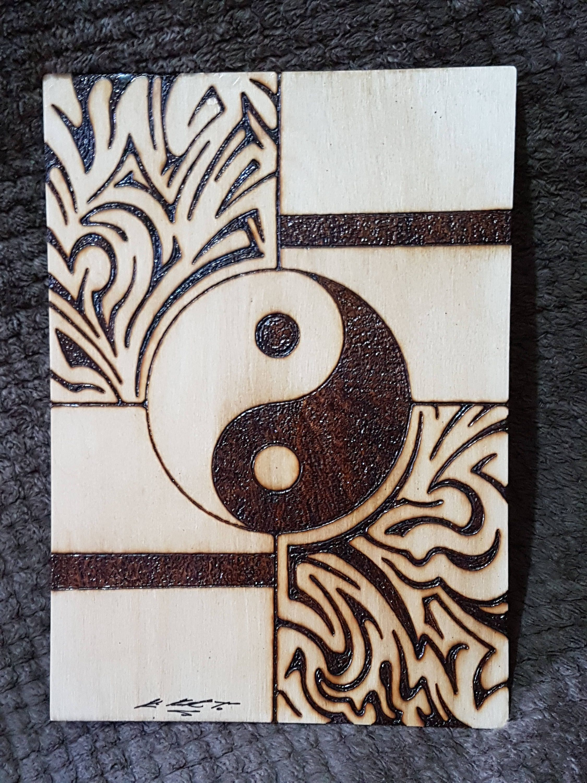 Unframed a size yin and yang symbol tribal tattoo pyrography wood