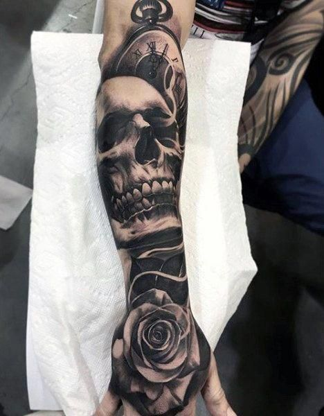 Forearm Sleeve Skull And Rose Black Ink Mens Tattoos Tattoosformen Skull Sleeve Tattoos Skull Rose Tattoos Forearm Sleeve Tattoos