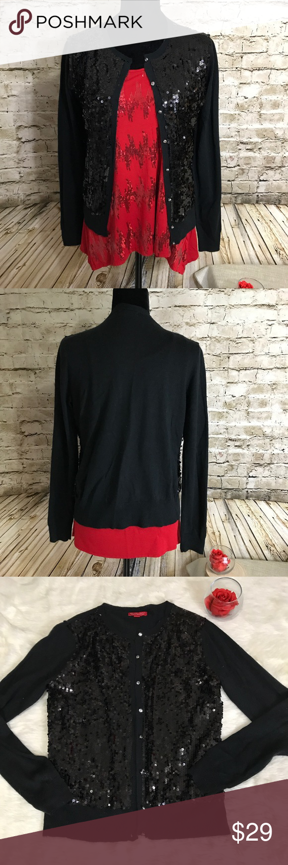 New York & Company Black Sequin Cardigan Festive | Black cardigan ...