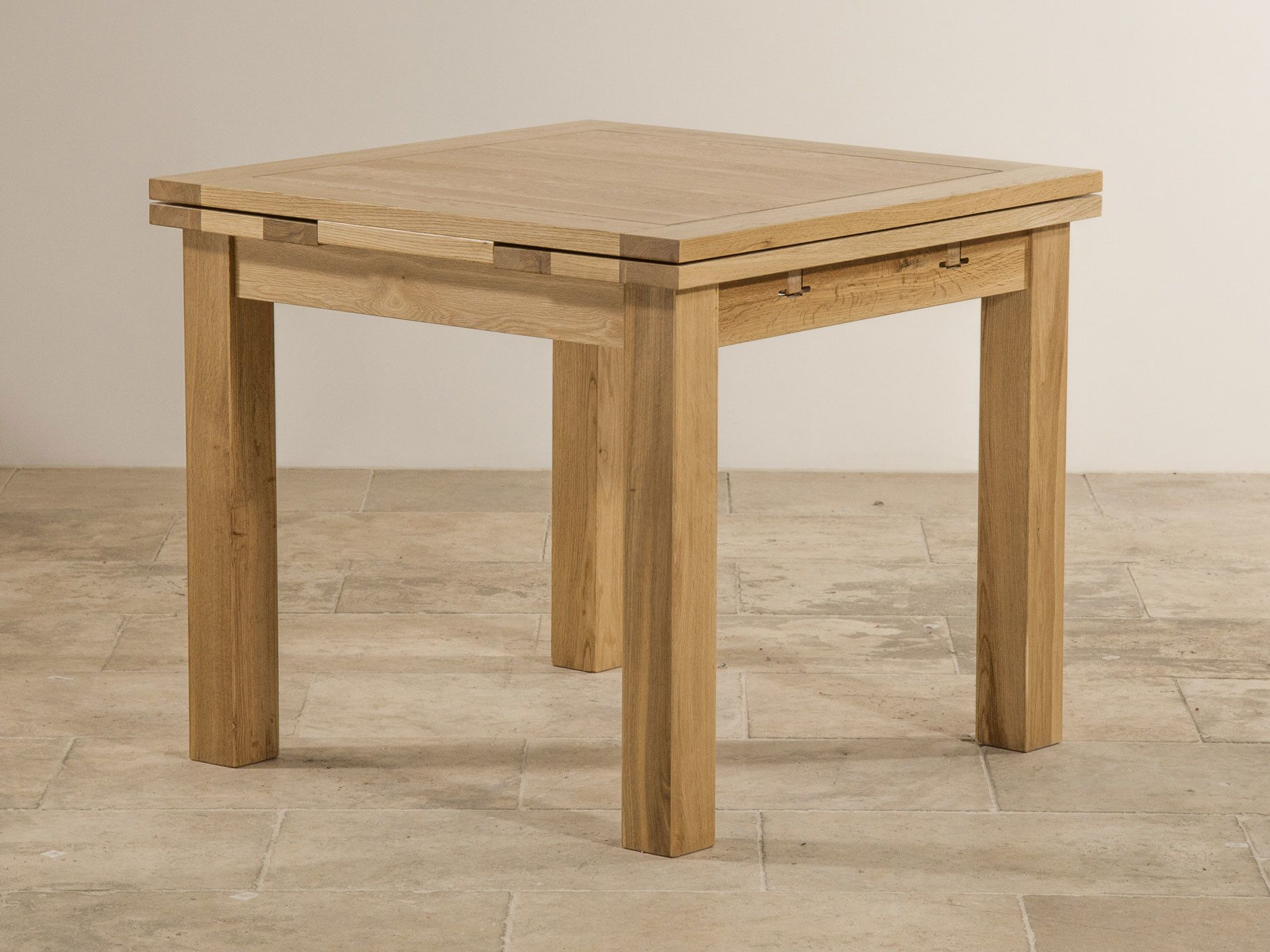 dorset 3ft x 3ft natural oak extending dining table (seats up to 6