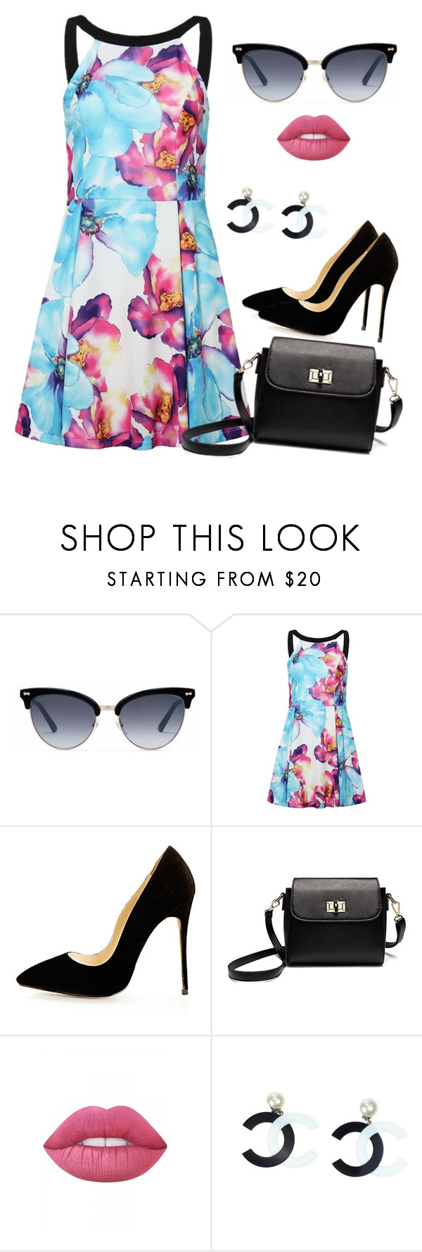"""""""Springly"""" by susy-sf ❤ liked on Polyvore featuring Gucci, Lime Crime, Chanel and Dressunder50"""
