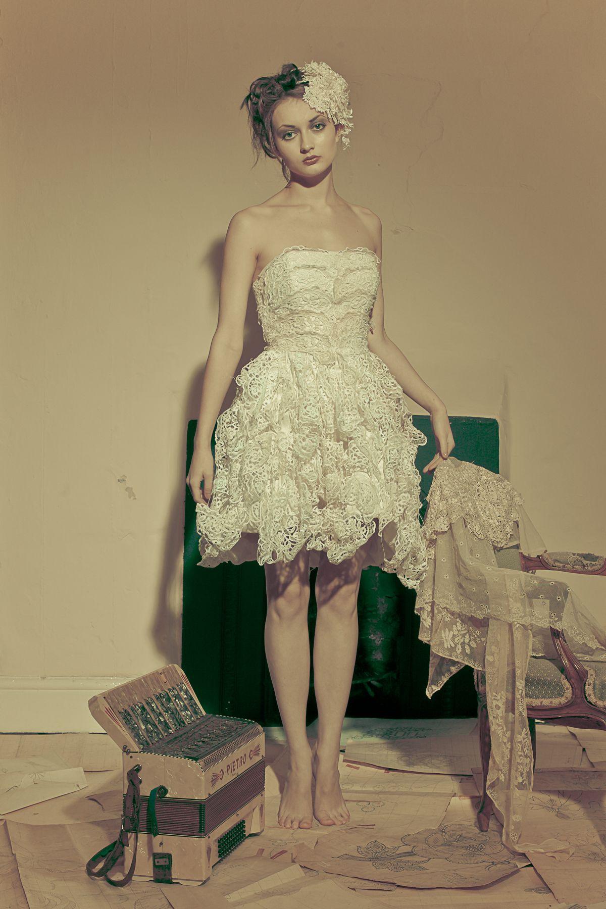 Kula Tsurdiu Short Wedding Dress With Nottingham Lace Kulatsurdiuco