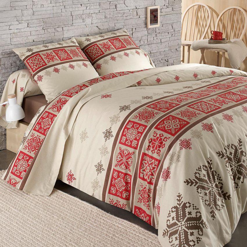 housse de couette et deux taies 260 cm flanelle cork rouge maison des bois pinterest. Black Bedroom Furniture Sets. Home Design Ideas