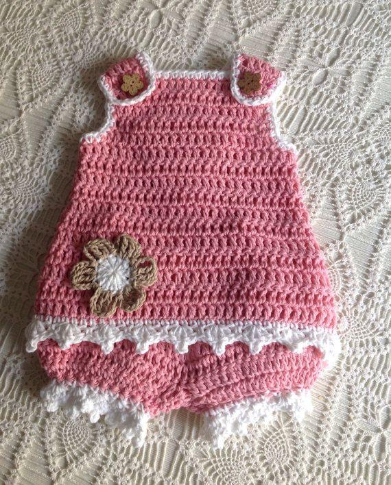 Crochet Sunsuit 9 to 12 Months Lauren PATTERN   Bragas, Ganchillo y ...