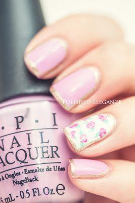 pink gold outlined nail art pink roses nail art manicure nail polish vintage nail art manicure vintage roses nail art