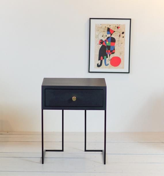 Best Black Bedside Table Mid Century Industrial Style Solid 400 x 300