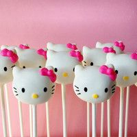 12 White Cat Cake Pops for birthday party favor baby shower cake