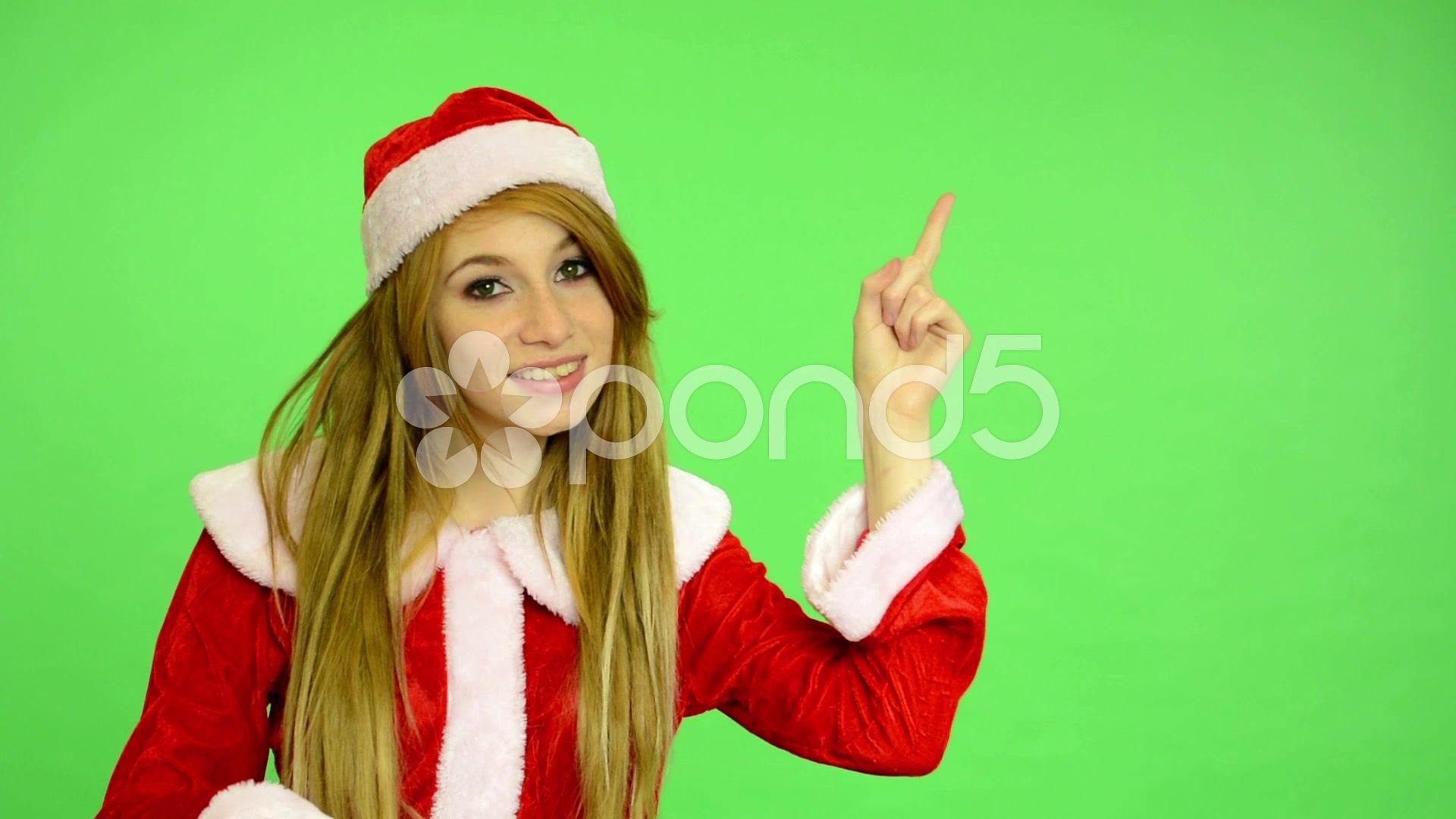 Ufo Sightings Christmas 2020 Christmas   Holidays   young attractive   green screen   woman