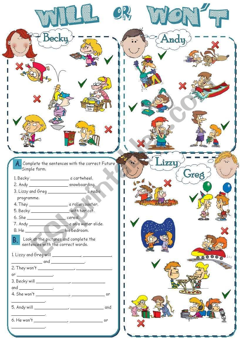 Some Exercises To Practise Future Simple With Beginners Talking About Future Activities I Grammar For Kids English Vocabulary Exercises English For Beginners [ 1169 x 821 Pixel ]