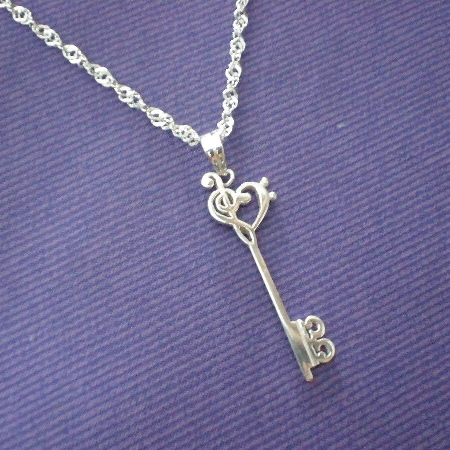 Skeleton key silver music note necklace pendant treble clef bass skeleton key silver music necklace pendant treble clef bass clef alto clef aloadofball Choice Image