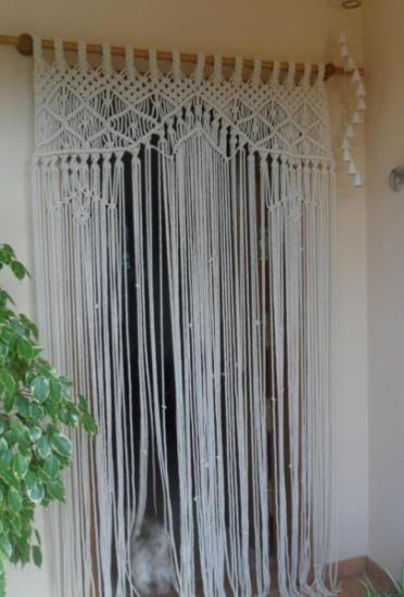 cortinas en mallorca  hilos de algodón macramé... tejido 100%