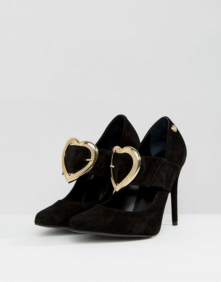 Love Moschino Gold Heart Point High Heels - Black
