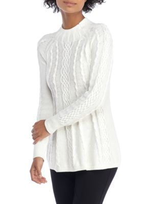 3e595016c30 The Limited Women s Mock Neck Cable Knit Swing Sweater - Marshmallow - Xl