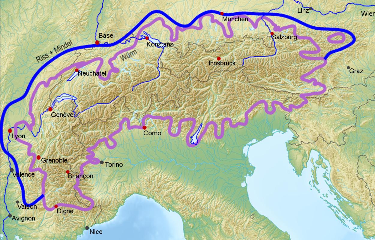 Glaciation Ice Age Alpine Alps Source Wikipedia Plus