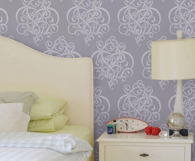 muster wand streichen ideen hellgrau abstrakt schlafzimmer - streichen schlafzimmer