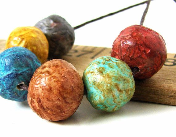 Handmade Polymer Clay Round Beads  Porcelain by BeadsByEarthTones, $13.69