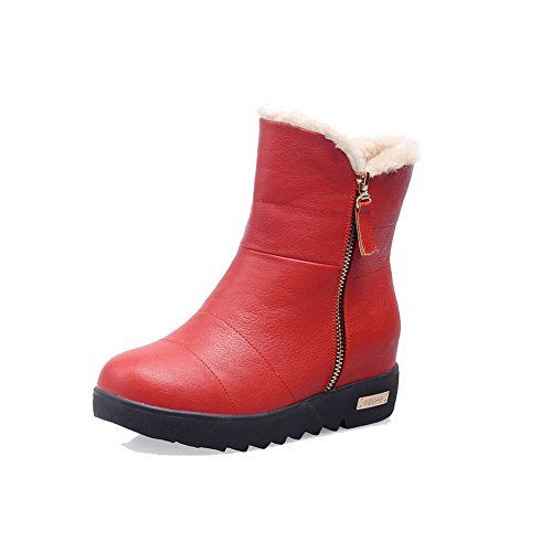 MayMeenth Womens Low top Solid Zipper Round Closed Toe KittenHeels Boots Red 39 *** Click image for more details.