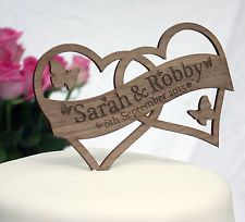 Details About Heart Wedding Cake Topper Personalised Printed Swirl