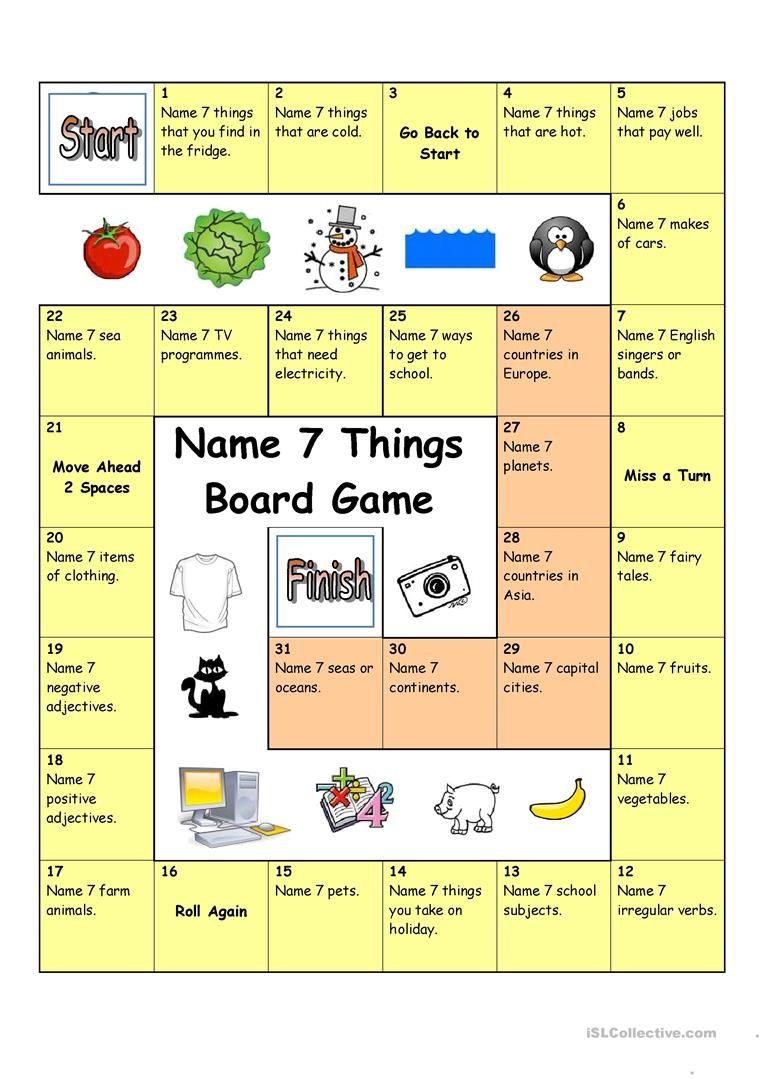 Board Game - Name 3 Things (Hard) worksheet - Free ESL printable ...
