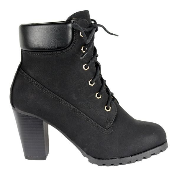 64dbf699d83c Womens Ankle Boots Rugged Lace Up High Heel Shoes Black