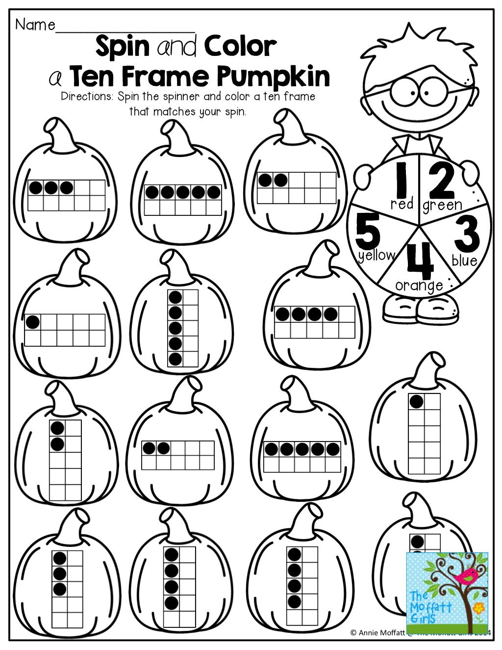 Spin And Color A Ten Frame Pumpkin So Many Fun And Interactive Printables For October Ten Frame Kindergarten Worksheets First Grade Math