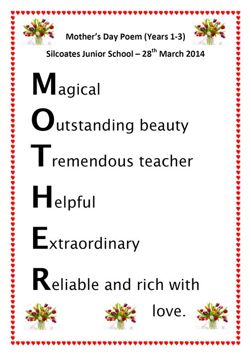 They then went on to design a special Mother's Day Acrostic Poem ...