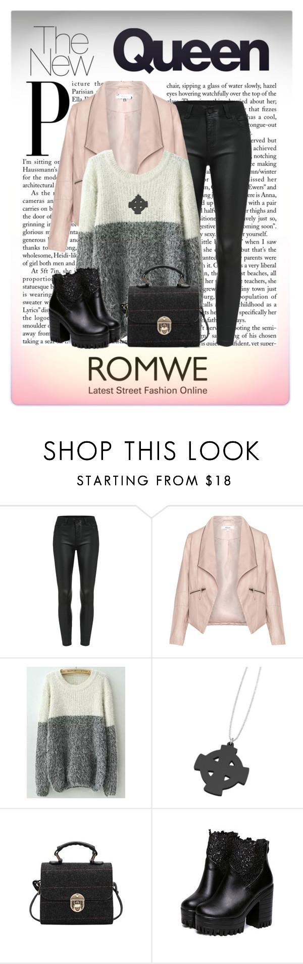"""""""ROMWE: White Grey Knit Sweater"""" by elena-indolfi ❤ liked on Polyvore featuring Zizzi, StreetStyle, romwe, sweaters, elenaindolfi and zazzy"""