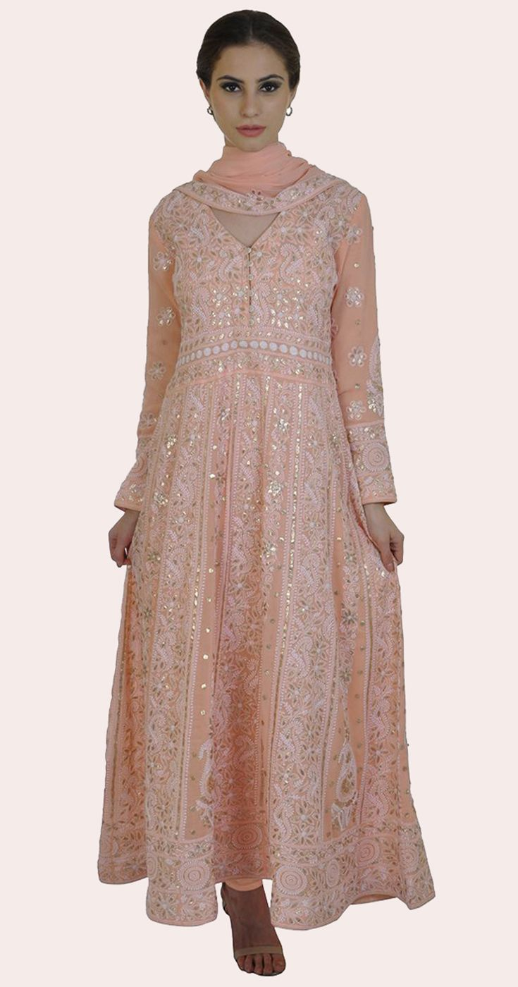 3ce8f4d76c Pastel Peach Chikankari and Gota Patti Anarkali Pure Georgette Suit ...