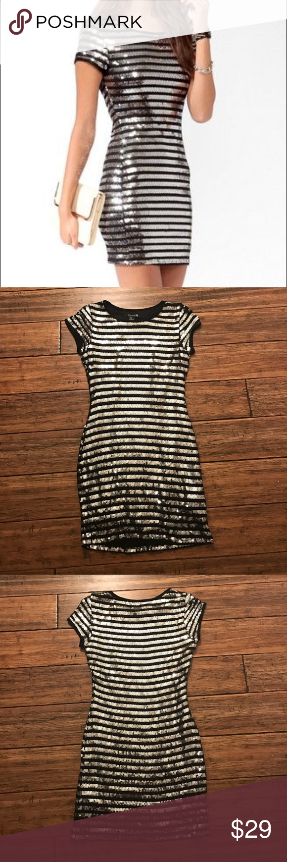 85a74d04 Forever 21 Black and Silver Striped Sequin Dress F21 striped Sequin dress.  Only worn once, perfect for a special occasion! Approx. 31.5