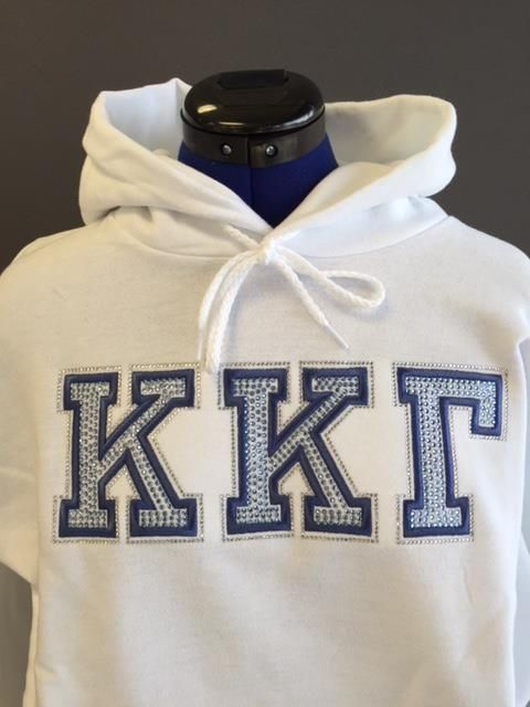 Kappa Kappa Gamma Hoodie with Rhinestones and Embroidery from All Stitched and Glitzed Out. We are official licensees.