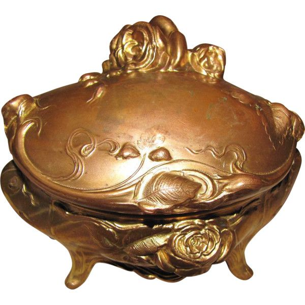 Lovely Art Nouveau Gold Washed Jewelry Box, Roses, Large ❤ liked on Polyvore featuring home, home decor, jewelry storage, art nouveau home decor, art nouveau jewelry box, gold home accessories, gold jewelry box and rose home decor