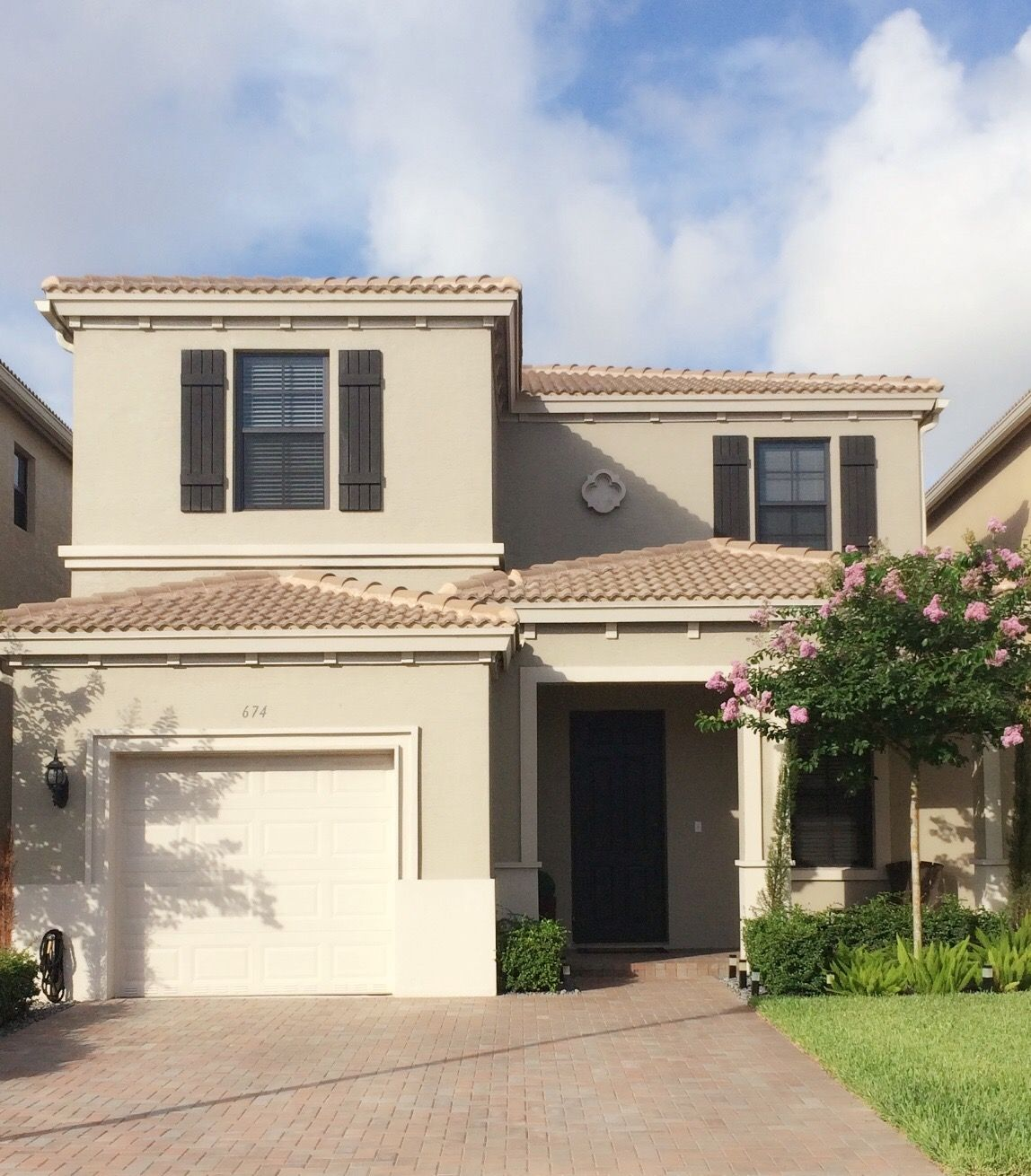 Taupe Exterior House Color Ideas: #HomeSweetHome #ModernMediterranean Home. Taupe Exterior