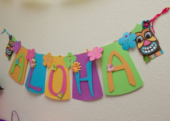Luau banner hawaiian party decorations mother sonfather
