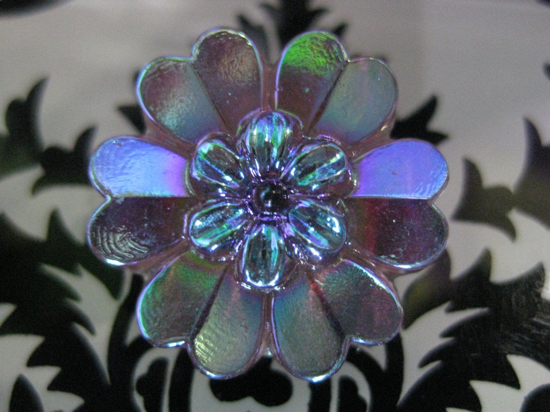 Vitrail Blue-Yellow-Pink Beautiful Daisy Flower Czech Glass Shank Button 27mm