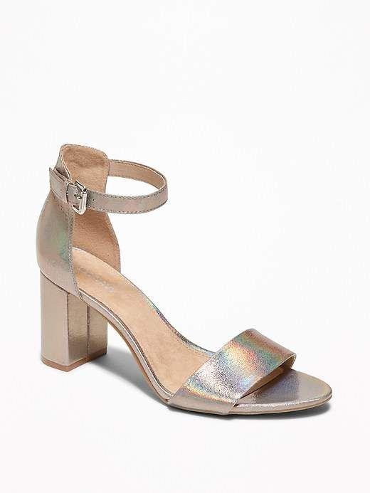 3815a289d90b Metallic Faux-Leather Block-Heel Sandals for Women