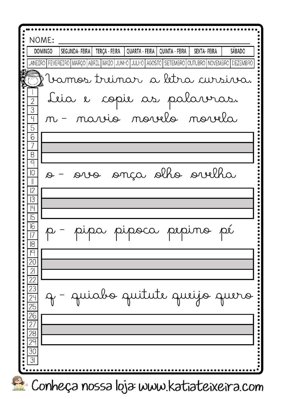 Caderno De Caligrafia Gratis Letras E Palavras Em Pdf Espaco