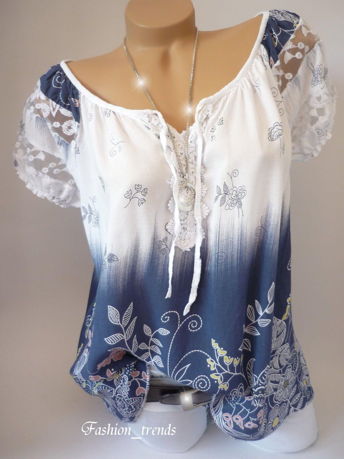55005cc90c711a Italy Vintage Blumen Bluse Sommer Shirt Top Tunika Lagenlook Weiss Blau 38  40 42…