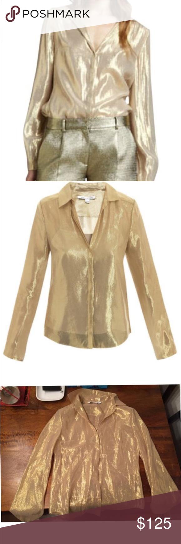 Diane Von Furstenberg gold top DVF Gale metallic gold blouse Diane von Furstenberg Tops Blouses