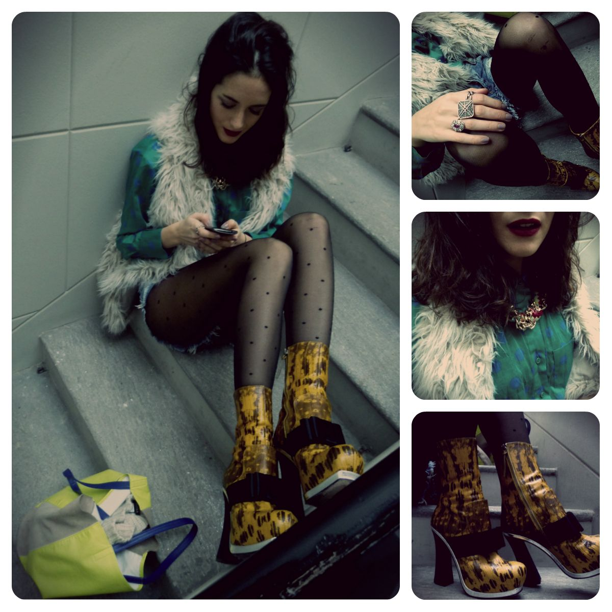Urban grunge details….    Susi's look: gilet by Zara, shirt by Sonia Rykiel, shorts by Zara, shoes by MiuMiu,     bag by H, rings by Celine e Demaldè,  necklace Federica Torricelli Bijoux