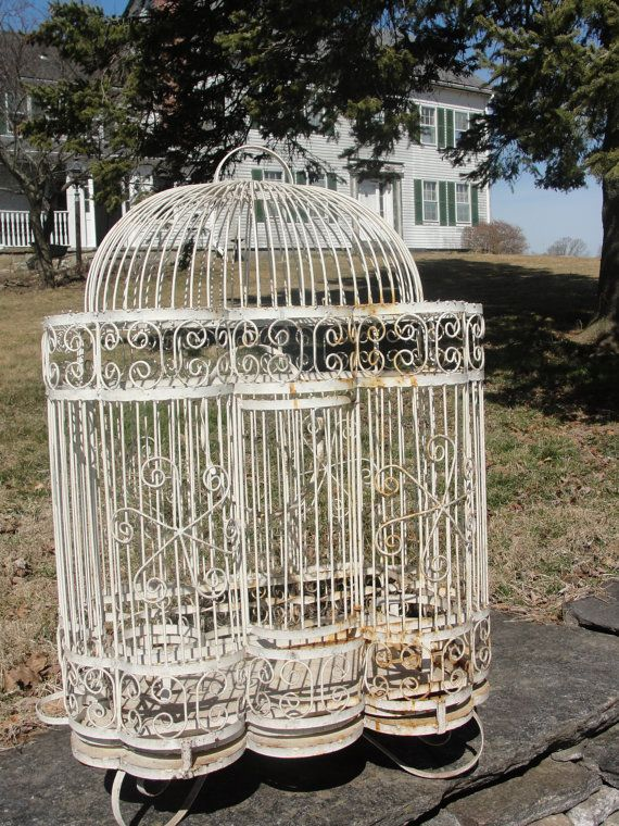 Wonderful Goodies Always Found Here Vintage White Iron Bird Cage