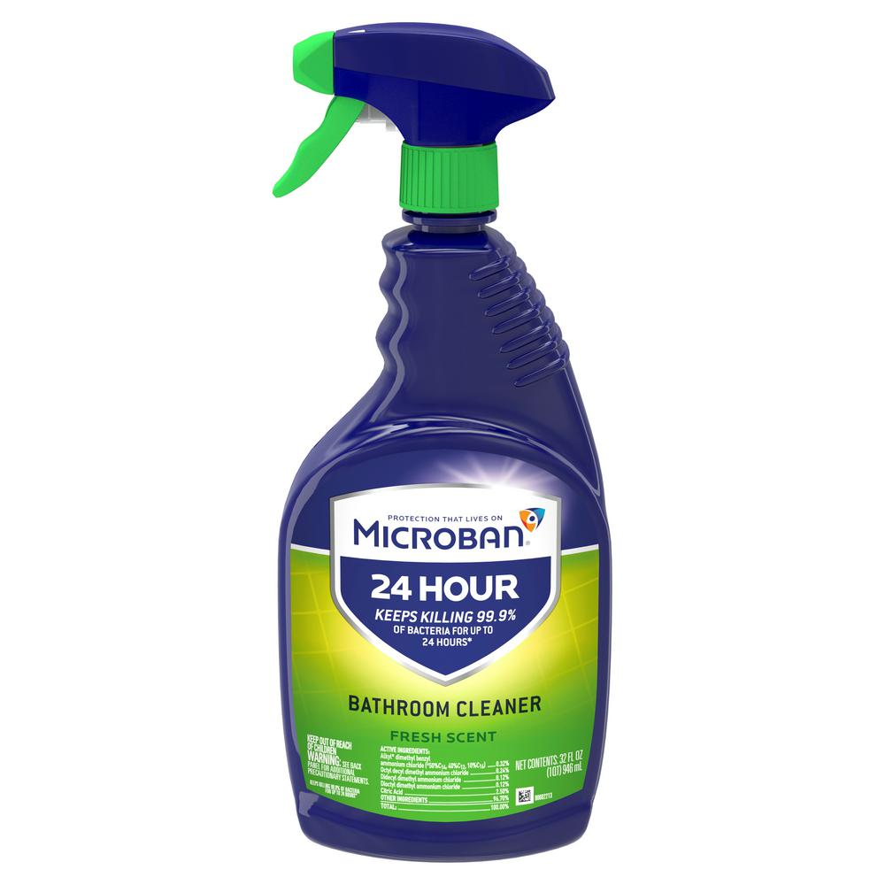 Microban 24 Hour 32 Oz Fresh Scent Bathroom Cleaner Spray 003700048621 The Home Depot In 2020 Disinfectant Spray Multipurpose Cleaner Bathroom Cleaner