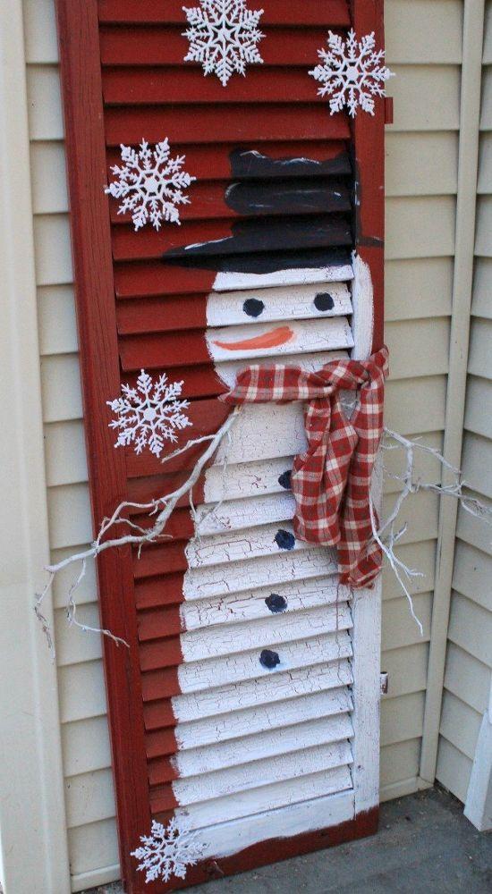 Diy Old Shutter Snowman Diy Christmas Crafts Easy