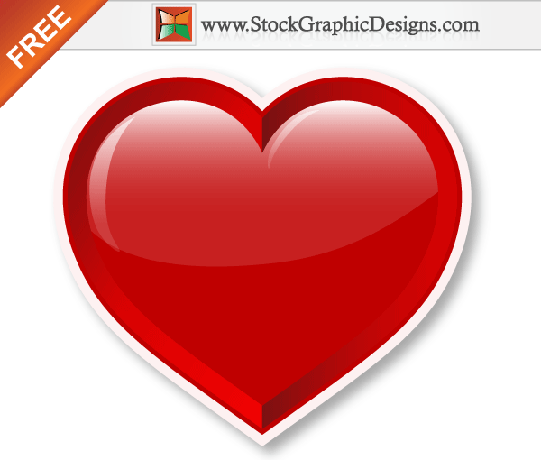 Lovely Red Shiny Valentine S Heart Free Vector Illustration Free