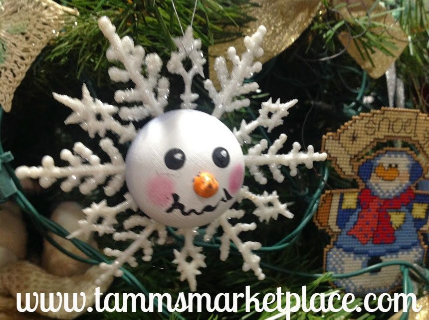 Snowman Face on White Glitter Snowflake Ornament MKO004 Snowman