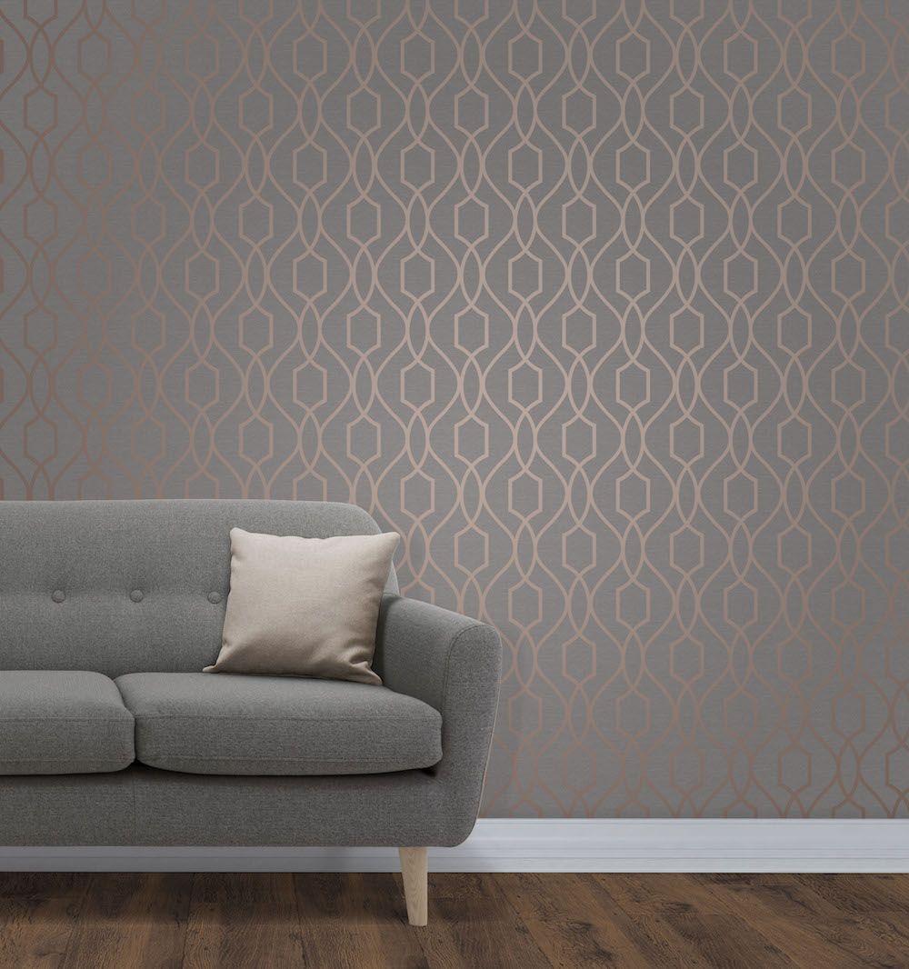 Fine Decor Trellis Copper Wallpaper Fd41998 Copper Wallp